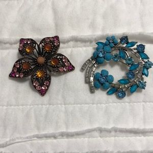 Two Vintage Beaded Brooches